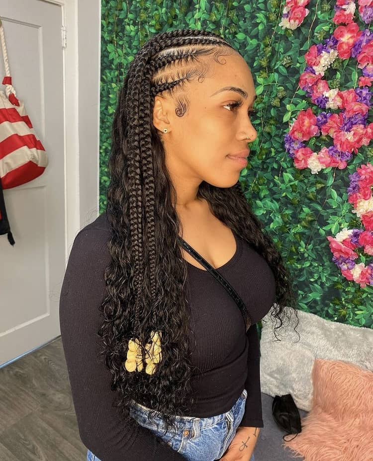 feed in stitch braids with curly hair