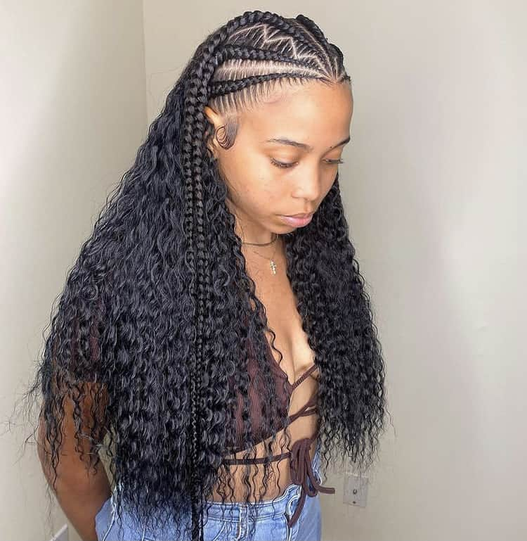 feed in braids with curly weave