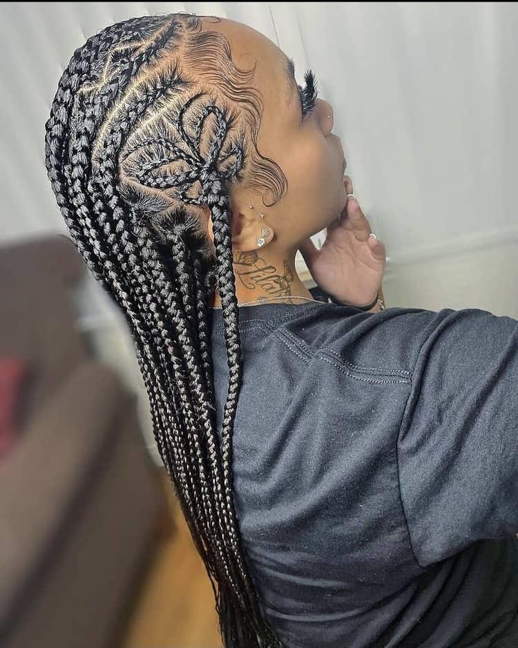 stitch  braids flower design