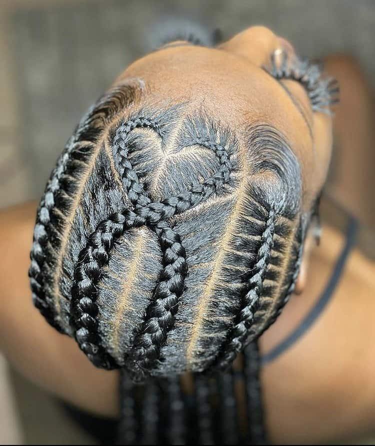 stitch braids criss cross love heart design