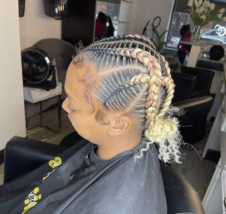 criss cross stitch braids with curly buns