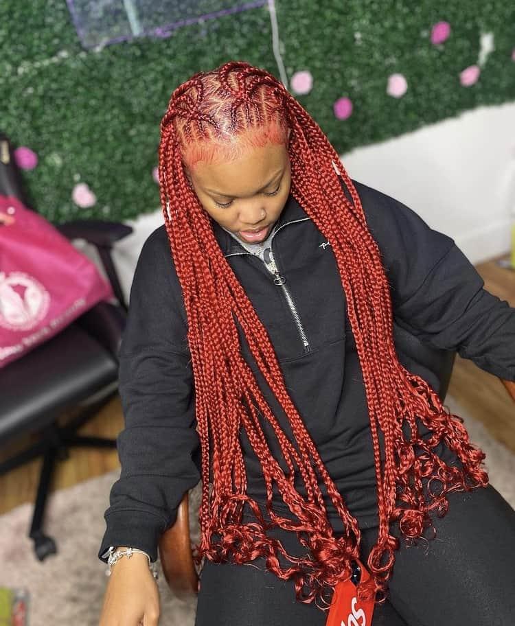 red criss cross stitch braids into knotless braids