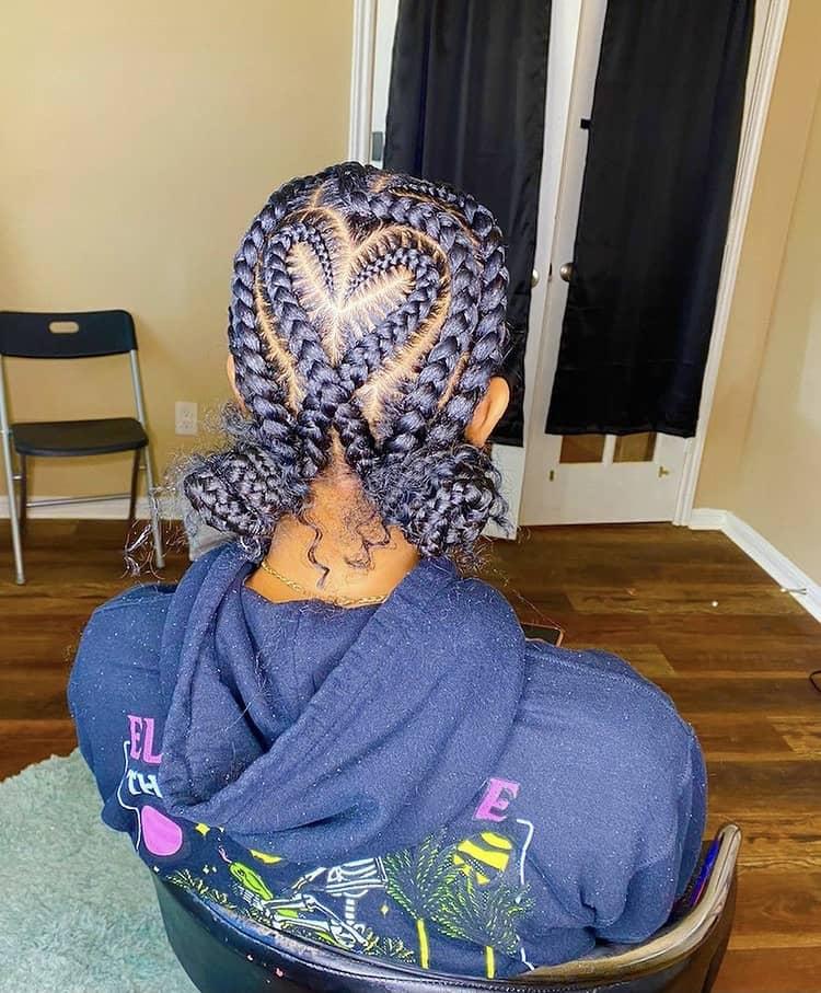 criss cross stitch braids into buns
